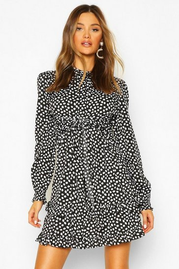 Black Woven Polka Dot Double Ruffle Hem Shift Dress