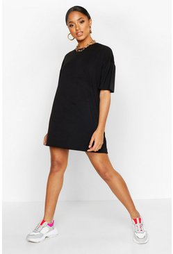 Womens Black Oversized Crew Neck T-Shirt Dress