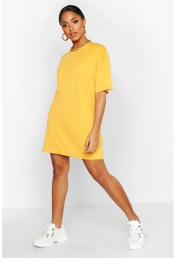 Mustard Oversized Crew Neck T-Shirt Dress