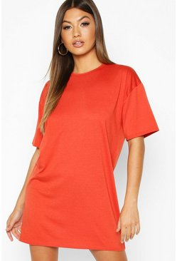 Womens Rust Oversized Crew Neck T-Shirt Dress
