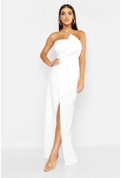 White Bandeau Wrap Detail Maxi Dress