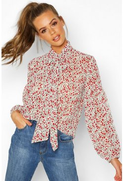 Womens White Woven Floral Pussy Bow Blouse