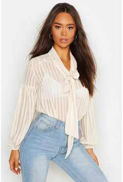 Womens Champagne Woven Burn Out Stripe Pussy Bow Blouse