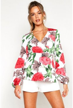 Womens Cream Floral Wrap Tie Front Blouse