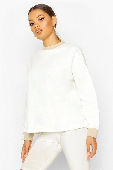 Cream Ringer Detail Sweatshirt