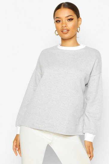 Grey marl Ringer Detail Sweatshirt