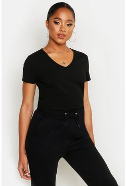 Womens Black Basic Rib V Neck Cap Sleeve T-Shirt