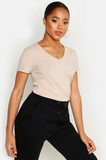 Womens Stone Basic Rib V Neck Cap Sleeve T-Shirt