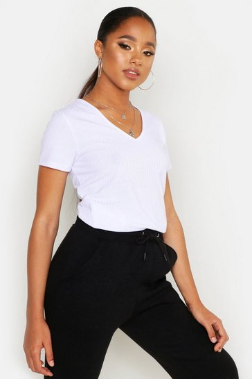 Womens White Basic Rib V Neck Cap Sleeve T-Shirt