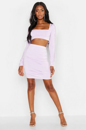 Womens Lilac Square Neck Ruched Sleeve Top & Skirt Co-Ord