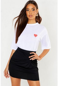 T-shirt con tasca con cuore e scritta For the future, Bianco, Femmina