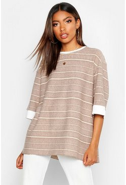 Natural Textured Stripe Boxy T-Shirt
