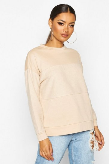 Womens Camel Textured Panel Sweat