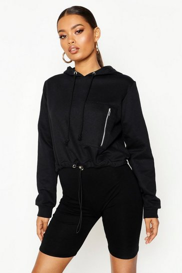 Womens Black Utility Pocket Hoody