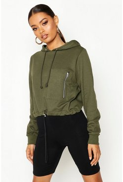 Womens Khaki Utility Pocket Hoody