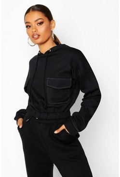 Womens Black Contrast Stitch Pocket Hoody