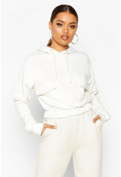 Womens Ecru Contrast Stitch Pocket Hoody