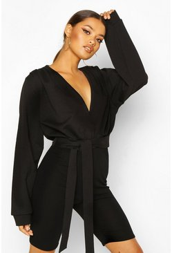 Dam Black Plunge Front Crop Sweat