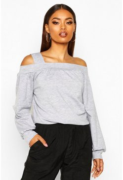 Grey marl Cold Shoulder Sweat