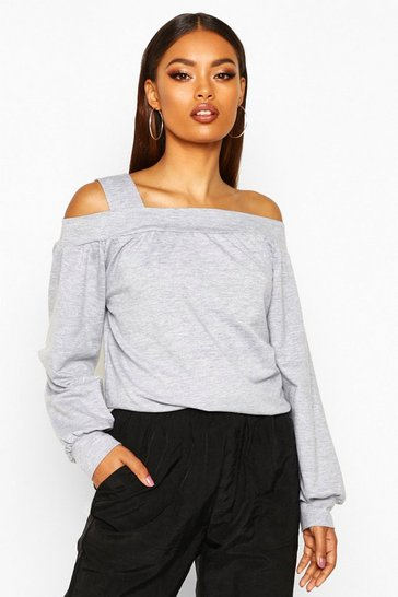 Womens Grey marl Cold Shoulder Sweat