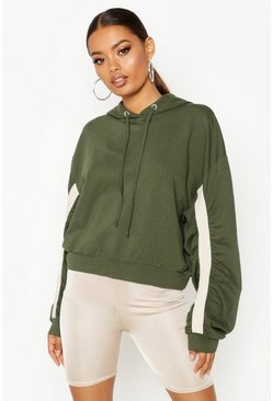 Womens Khaki Ruched Sleeve Hoody
