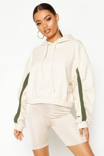 Womens Stone Ruched Sleeve Hoody
