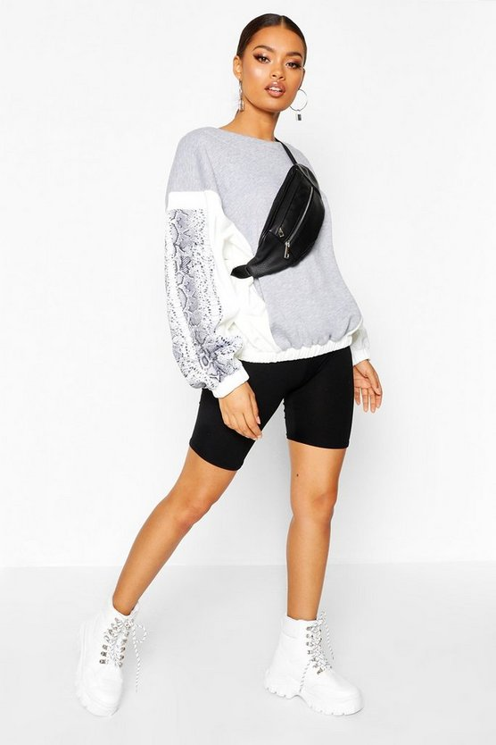 Sweat colorblock imprimé serpent, Gris chiné, Femme
