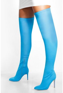 Blue Round Toe Calf High Boots