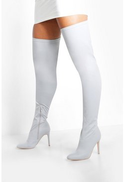 Grey Round Toe Calf High Boots
