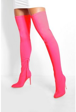 Pink Round Toe Calf High Boots
