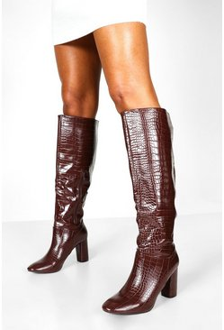 Womens Chocolate Calf High Croc Boots