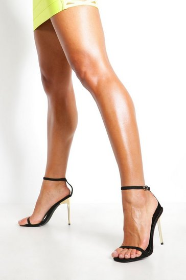 Womens Black 2 Part Interest Stiletto Heels