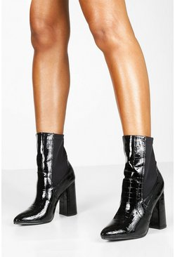 Womens Black Croc Pointed Toe Block Heel Sock Boots
