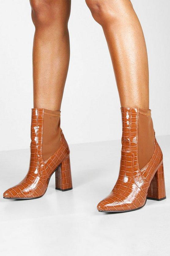 Croc Pointed Toe Block Heel Sock Boots