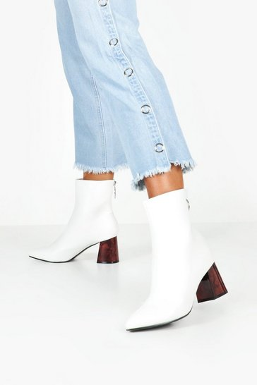 Womens White Tort Heel Pointed Toe Shoe Boots