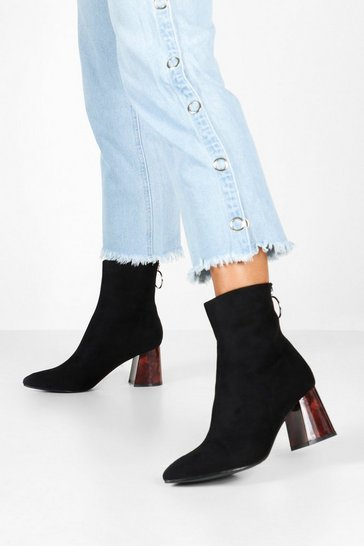 Black Tort Heel Pointed Toe Shoe Boots