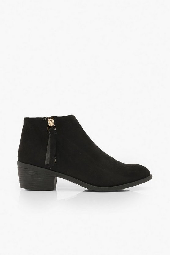 Zip Side Round Toe Chelsea Boots
