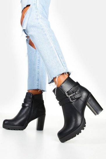 Womens Black Double Buckle Block Heel Chelsea Boots