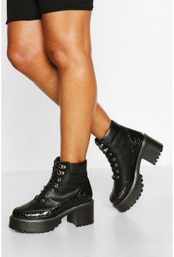 Womens Black Croc Panel Chunky Platform Hiker Boots
