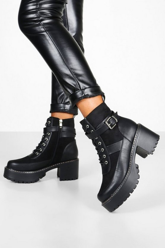 Womens Black Buckle Strap Block Heel Platform Hiker Boots
