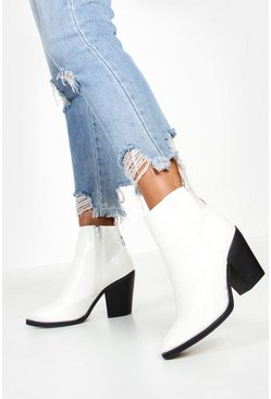 Womens White Croc Block Heel Pointed Toe Western Boots