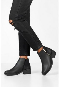 Black Zip Side Block Heel Chelsea Boots