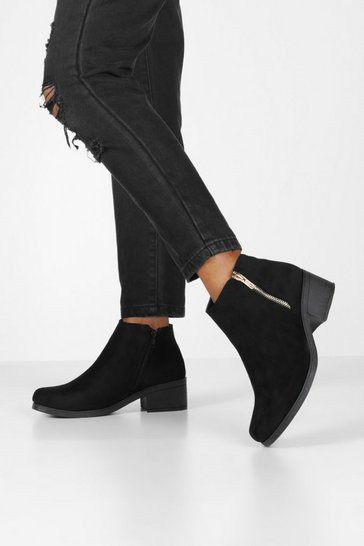 Womens Black Zip Side Block Heel Chelsea Boots