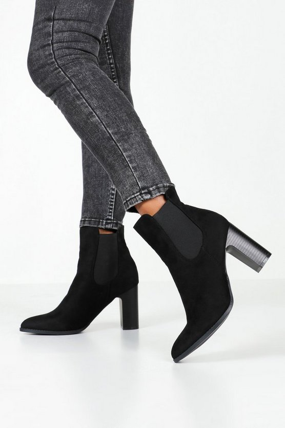 Pointed Toe Block Heel Chelsea Boots