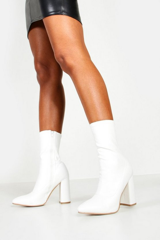 White Pointed Toe Block Heel Sock Boots