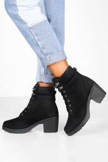 Womens Black Padded Cuff Block Heel Hiker Boots