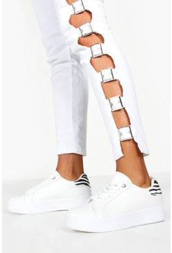 Womens White Contrast Panel Lace Up Flat Trainers