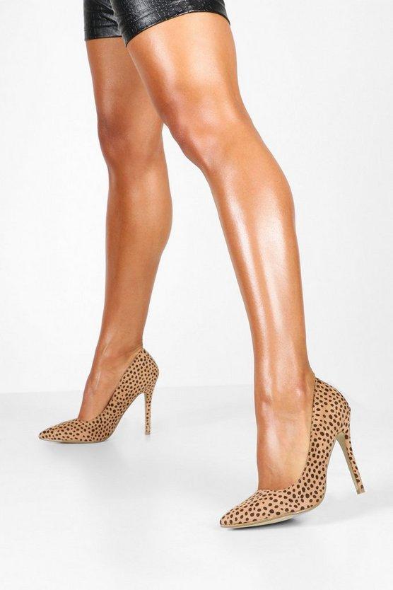 Cheetah Print Pointed Toe Stiletto Heel Courts