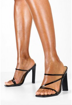 Womens Black Croc Square Toe Strappy Mules