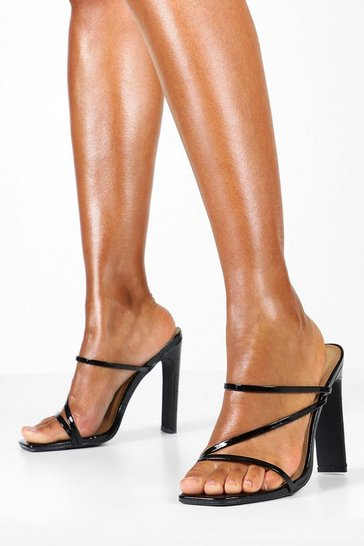 Womens Black Croc Square Toe Strappy Mule